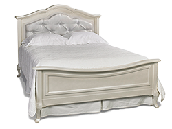 Dolce Kids & Teens | Angelina Collection Full Bed Upholstered (Grey) - French Vanilla Finish